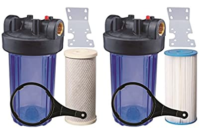 "Two 10"" Big Blue Whole House Water Filter w/ Pleated Sediment & Carbon Filters ^ CLEAR BLUE TRANSPARENT HOUSINGS"