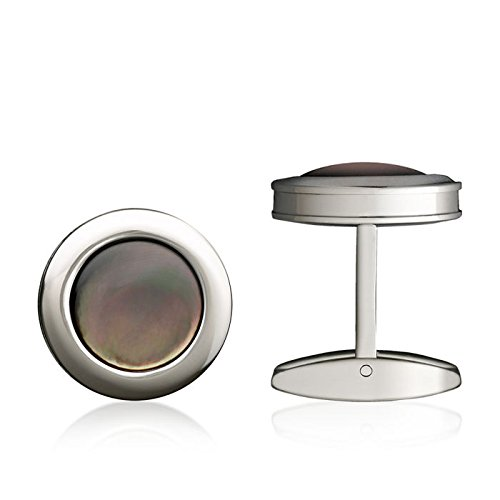 Colibri Stainless Steel Cufflinks (Colibri Jewelry Hampton Polished Stainless Steel Round Black Mother-Of-Pearl Cuff Links)