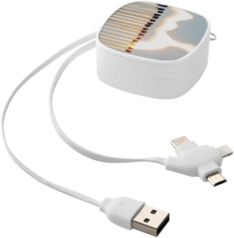 Multi Quick Charge Cable Isolated Flames Burning Matches Multi 3 in 1 Retractable Micro USB Phone Charger Cable with Micro USB//Type C Compatible with Cell Phones Tablets and More