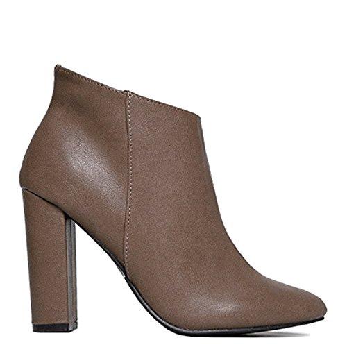 Up Sleek Boot Bootie Simple 21 Heel Classic Linda Ankle Beige Breckelle's Mod Dress Boot Cute Ankle Zip Vintage Round 11 Retro PwPrq7cg
