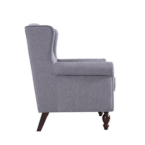 Classic Scroll Arm Fabric Living Room Chair with Nailhead Trim (Light Grey)