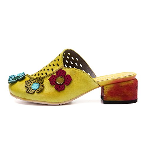 gracosy Women Mules Shoes, Round Toe Platform Slippers Shoes Leather Mules Sandals Clogs Heels Shoes Yellow