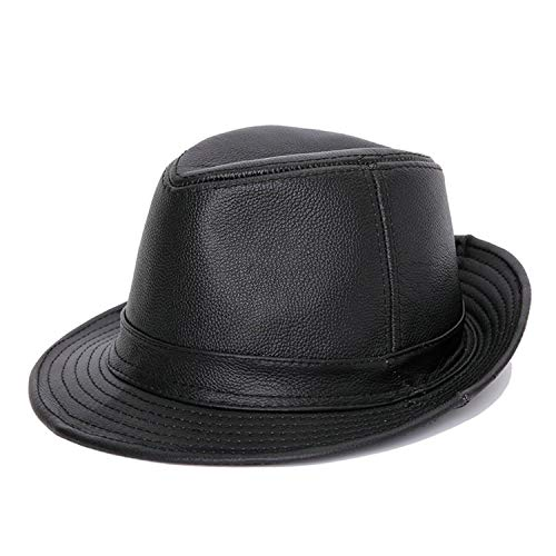 (Genuine Leather Cow Leather Fedora Hat Cowskin Hats Flat Top Gentleman British Style Fedoras Panama Men Women)
