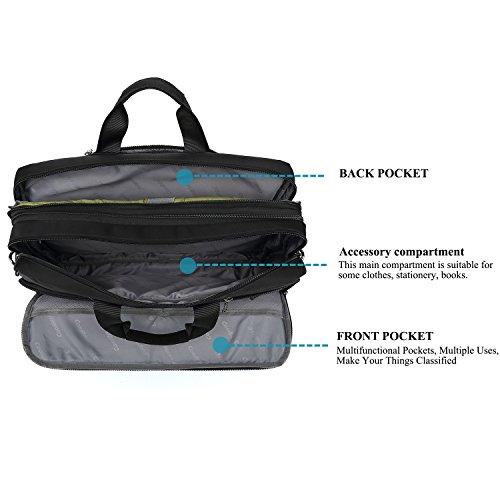 DTBG Laptop Bag Convertible Backpack Messenger Bag Nylon Shoulder Bag Men Women Business Briefcase Travel Rucksack with Side Handbag and Shoulder Strap Fits 17.3 Inches Laptop and Notebook (Black) by DTBG (Image #4)