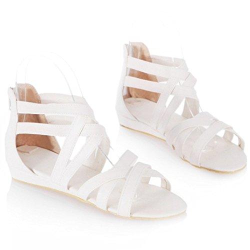 Gladiator Summer White Women Shoes Cross Strap Flat Sandals Zip Flats Classic Coolcept Rawqtw