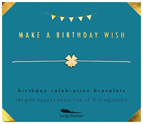 Lucky Feather Birthday Celebration Make a Birthday Wish Bracelet (Clover Lucky Gold 14k)