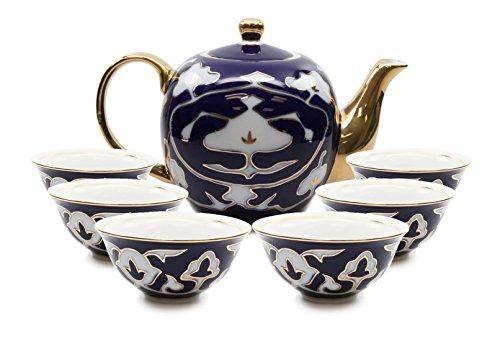 Royal Porcelain 7-pc Mini Tea Cup Set, Six Cups and Teapot, Vintage Cobalt Blue Russian Pattern, Bone China Tableware