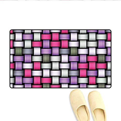 Doormat Knot Pattern with Large Fractal Yarns Geometric Linked Bands Graphic Bath Mat for Tub Bathroom Mat Pink Purple Silver Grey 32