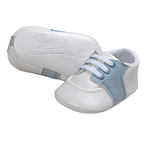Pictures of Kuner Newborn Baby Boys Girls Pu Leather White+sky Blue 6