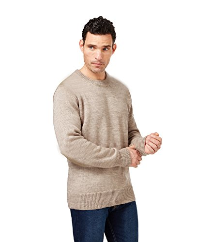 Unisex Hand-Knit 100% Royal Alpaca Crewneck Pullover Jumper, Natural Beige M by Sweet Dreams Home