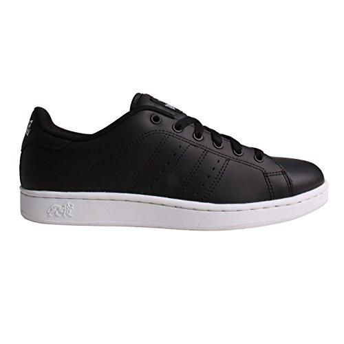 Lonsdale Heren Leyton Lederen Sneakers Full Lace Up Sport Casual Schoenen Zwart / Wit