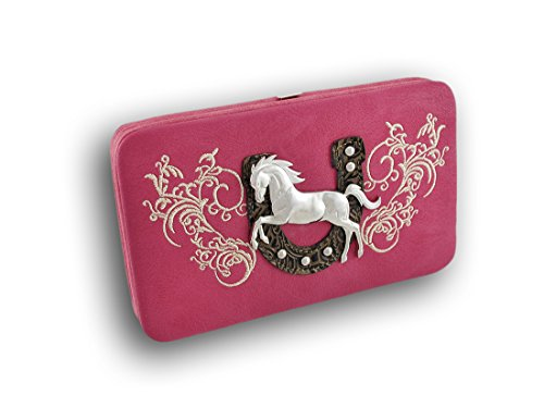 Western Hard Wallet With Horseshoe And Wild Stallion Nylon Womens Wallets Hot Pink