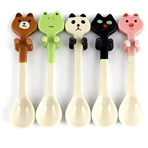 5 Pieces Cute Ceramic Dessert Spoon of Fresh Animal Can Be Hanging Children Tea Coffee Feeding Small Spoon Kawaii (Different ()