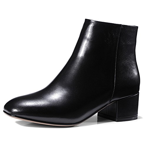 smooth Heel Women's Handmade Square Ankle Seven Chunky Leather Sexy Suede Black Toe Fashion Boots Nine Leather twU06qw