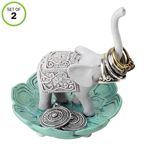 (Evelots Ring Holder-Good Luck Elephant-Jewelry Bowl/Stand-Earring/Necklace-Set/2)