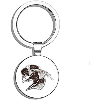 CUTE BUMBLE BEE BLACK LEATHER KEYRING