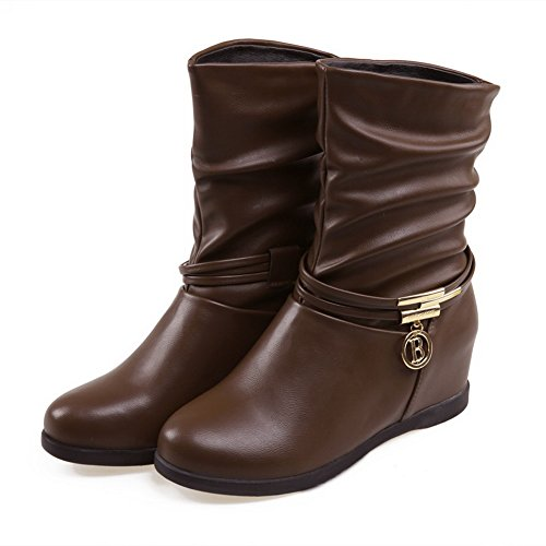 Heels Leather Solid Ornament Boots Low AdeeSu Metal Imitated Ladies Brown Xxy4qwZ0qT