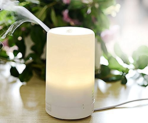 BearsFire® Portable Aromatherapy Essential Oil Aroma Diffuser USB Mini Ultrasonic Air Humidifier with 4 Timer Settings 2 Warm Light Setting with Anti-dry Protection for Home Car Office(Warm White)