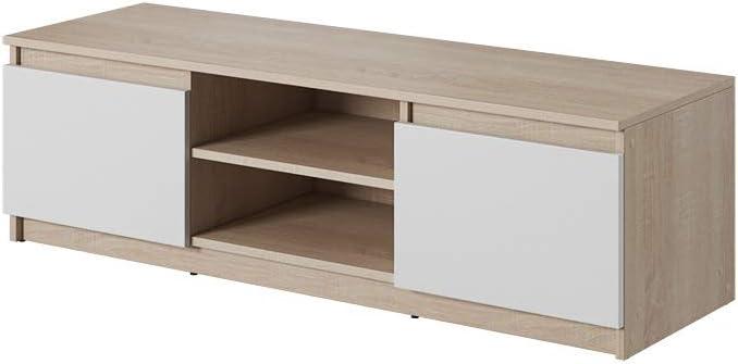 Selsey Tv Meuble Bas En Chene Sonoma Blanc Mat 120 X 35 5 X 38 Amazon Fr Cuisine Maison