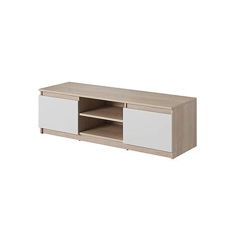 Selsey FOX - Mobile TV Minimalista/ Porta TV Stile Moderno/ Tavolino TV per  Soggiorno 120 cm/ Marrone con Frontali Bianco Opaco