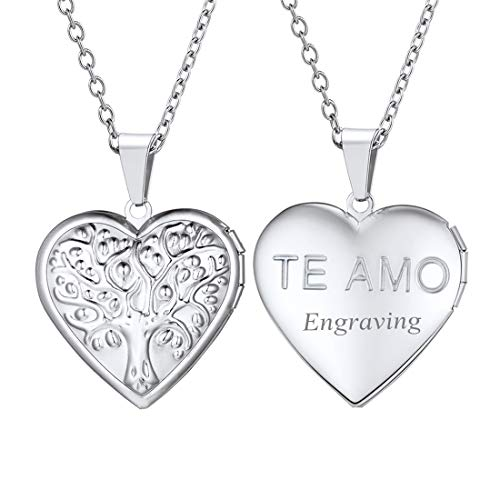 (U7 Women Girls TE AMO I Love You Photo Locket Pendant Stainless Steel Chain Tree of Life Heart Necklace,Free Message Engrave Back Side)
