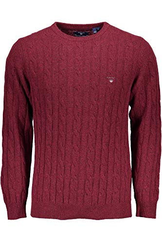 Crew para Sweater Neps Cable Gant Rosso Lambswool suéter 678 Hombre g6PqWn