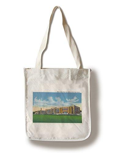 Lantern Press Rock Island, Illinois - Exterior View of The New One Million Dollar High School (100% Cotton Tote Bag - ()