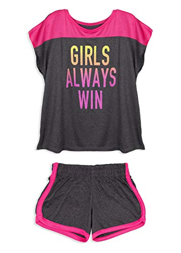 (Cheetah Girls 'Girls Always Win' Graphic Color Block T-Shirt and Shorts Gym Set, Black/Pink, 10/12)