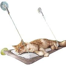 Adorrable Cat Hammock Mounted Sunny Seat Resting Safe Kitty Sill Cozy Cat Window Perch, Grey, Medium
