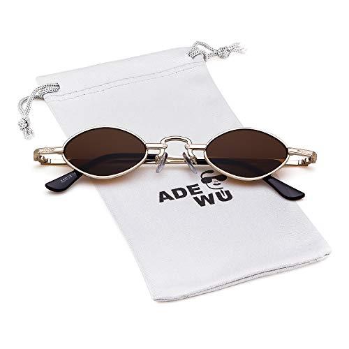 vintage mujeres Marco pequeñas Lente retro 1 para ovales Marrón ADEWU Gafas hombres sol Oro Oval Gafas de Zzqt1wAY