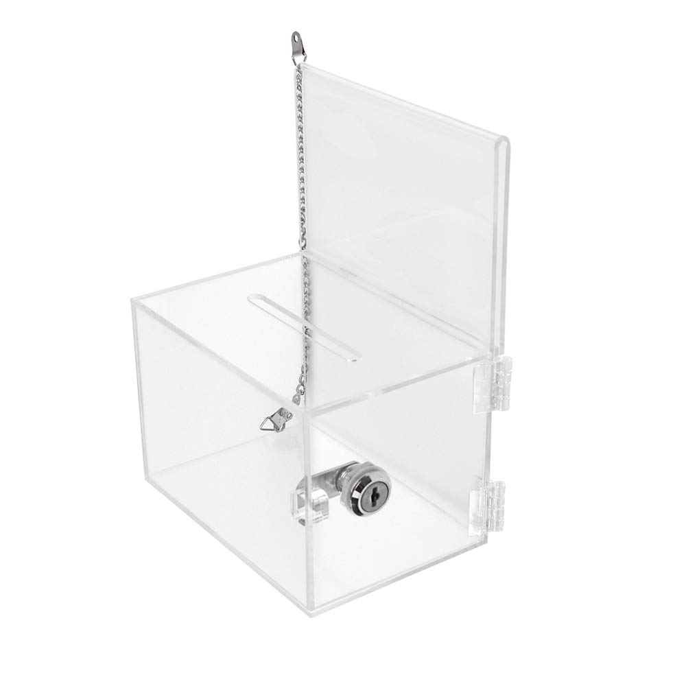 (Pack/2units) Lockable Acrylic Charity/Donation/Ballot/Suggestion/Tip Box Container with Metal Chain by displayonacrylic