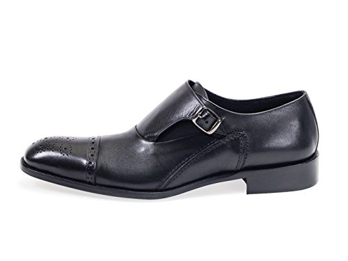 Mens Leather Black Single Buckle Monk Strap Brogues Shoes Size (44 Verona Oxford)