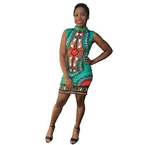 Dress DKmagic Fashion Print Kaftan Cheongsam Casual Green Women Sleeveless African SRScWTBU