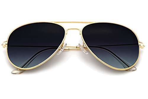 Frame Gradient Lens (YuFalling Polarized Aviator Sunglasses for Men and Women (gold frame/grey gradient lens, 58))
