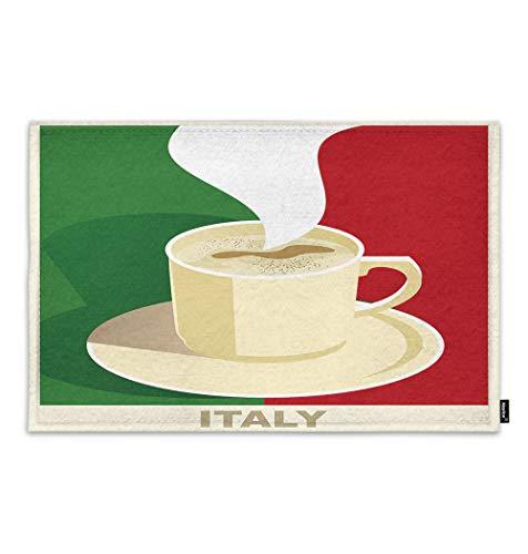 Moslion Coffee Doormat Italy Espresso Cappuccino with Italian Flag Indoor Door Mat for Entrance Way Inside Bedroom Kitchen Non Slip Mat 15.7x23.6 Inch Green Red Beige