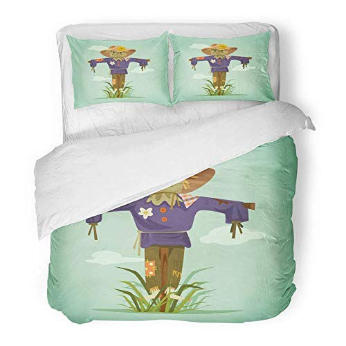 - MIGAGA Decor Duvet Cover Set Full/Queen Size Art-Shirt Happy Smiling Scarecrow Character Flat Cartoon Agriculture 3 Piece Brushed Microfiber Fabric Print Bedding Set Cover