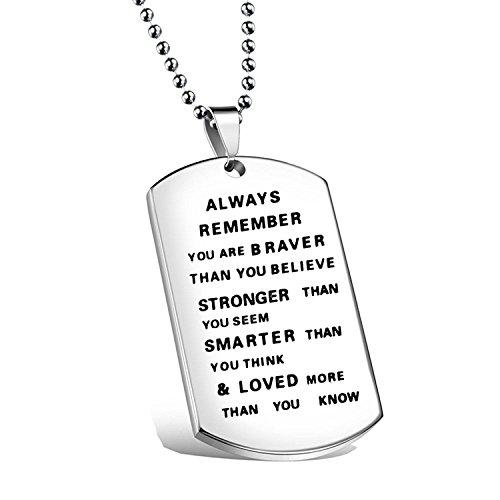 Ensianth Always Remember You Are Braver Than You Believe Hand Stamped Necklace Keychain for Family Friend (Always necklace) (Awareness Dog Tag)