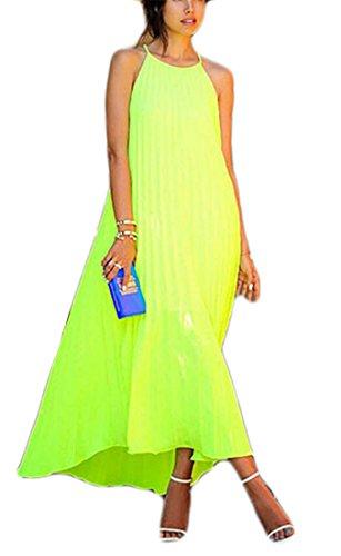 Neck Maxi Sleeveless Jaycargogo Halter Color Women Loose Solid Dress Fashion 1 Fit qzqftwI