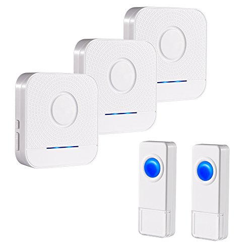 BITIWEND Wireless Doorbell Kit, Bitiwend 1000-feet Range, 52 Chimes Optional, 4 Level Volume, LED Indicator, 3 Receivers & 2 Push Button Transmitter Waterproof Doorbells