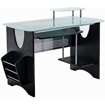 Merveilleux Techni Mobili Stylish Frosted Glass Top Computer Desk With Storage. Color  Expresso