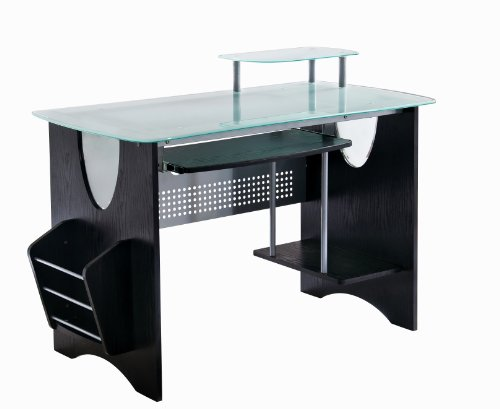 Stylish Frosted Glass Top Computer Desk with Storage. Color: Expresso