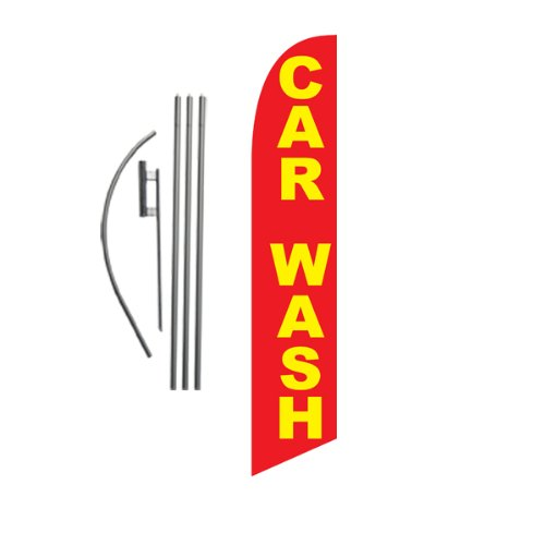 Car Wash Feather Flag Banner Swooper Flag Kit | Top Selling Car Wash Signs | Pole Kit and Ground Spike Included (red, ()