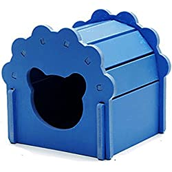 Petzilla Hamster Hideout Hut, Cute Wooden Bedding House for Small Animals (Blue)