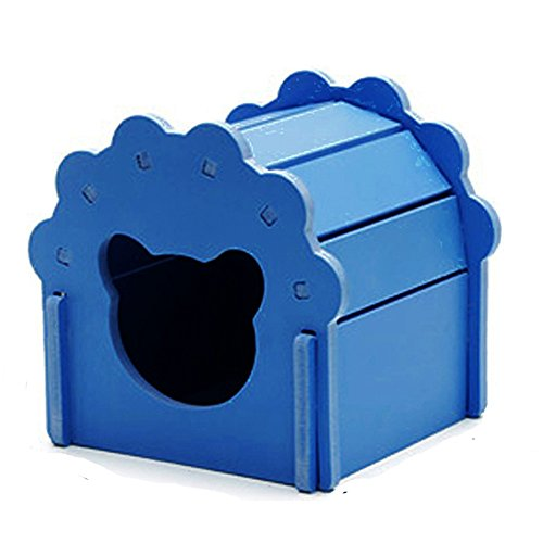 (Petzilla Cute Hamster Hideout Hut Sand Bath for Small Animals, Made of Safe Balsa Wood (Blue))