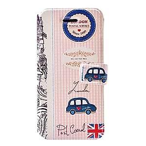 London postal serie de coches patr¨®n estuche de cuero con ranuras de soporte y tarjeta para el iphone 5c