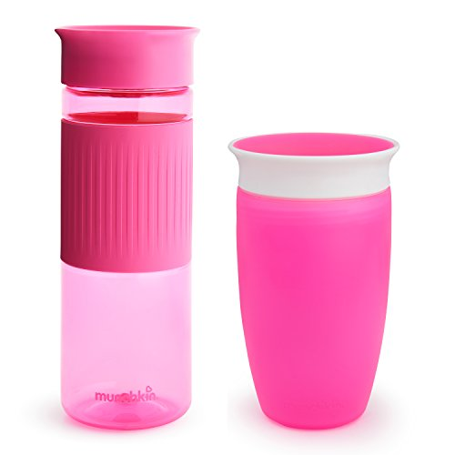 Miracle 360 Cup Parent and Kid Set, 24 and 10 Ounce, Pink, Set of 2