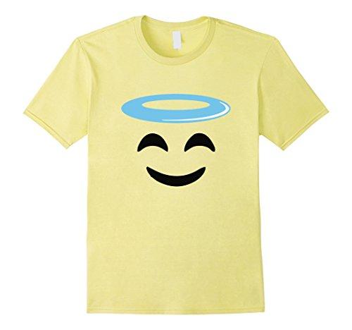 Mens Angel Smile Face Funny Emoji tee shirt group costume Medium Lemon