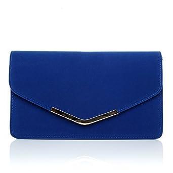 LUCKY Electric Blue Suede Medium Size Clutch Bag: ShuWish UK ...