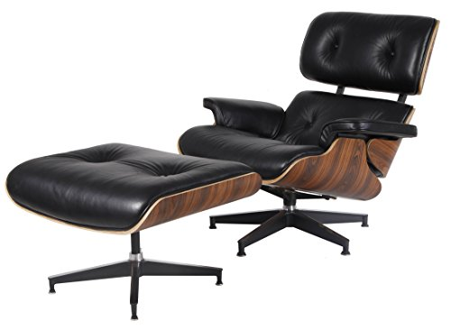 Price comparison product image MLF Lounge Chair & Ottoman. High-elastic Soft Foam Cushions,  Great Resilience & Never Lose Elasticity. Black Aniline Leather,  7-ply Palisander Veneer. Cast Aluminum 5 Star Swiveling Base.