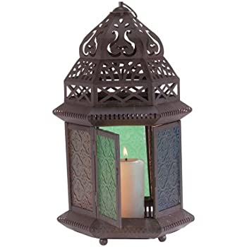 Gifts U0026 Decor Moroccan Metal Color Glass Tabletop Lantern